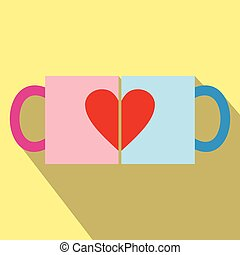 Valentine day couple cups icon