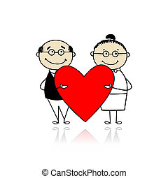 Valentine day. Couple with big red heart for your design