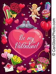 Valentine day, cupid angel and doves on love heart
