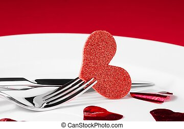 valentine day dinner series on red background