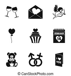 Valentine day equipment icons set, simple style