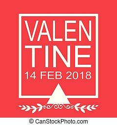 Valentine Day Flat 14 Feb 2018 Vector Image