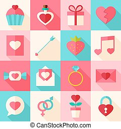 Valentine day flat icon set with long shadow. Flat stylized...