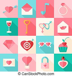 Valentine day flat icons with long shadow. Flat stylized...