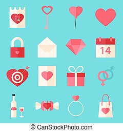 Valentine day flat style icons with over blue