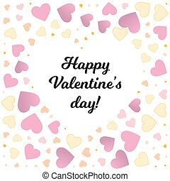 Valentine day frame with small color hearts background