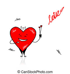 Valentine day. Funny heart with bouquet for your design