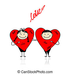 Valentine day. Funny hearts together for your design
