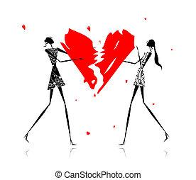 Valentine day. Girls with broken heart