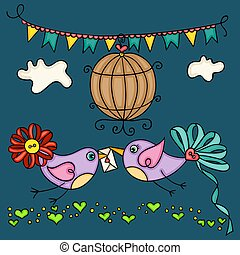 Valentine day greeting card with two cute love birds