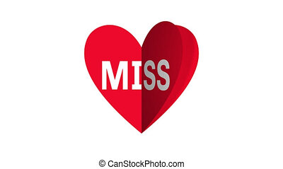Valentine day heart card - i miss you.