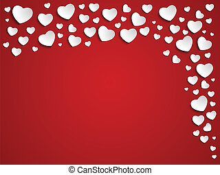 Valentine Day Heart on Red Background - Vector - Valentine...