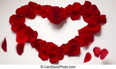 Valentine Day Heart Shape With Rose Petals. Slowmotion 120p