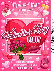 Valentine Day hearts, flower, ring and love letter