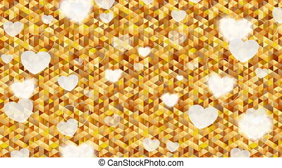 Valentine Day hearts polygonal pixelated golden video animation