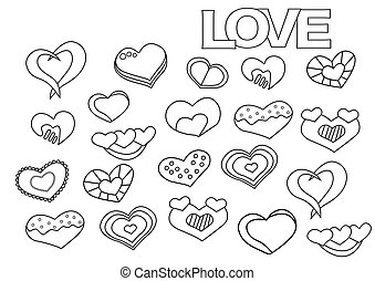 Valentine day hearts set. Coloring book page