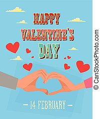 Valentine Day Holiday Couple Hand Making Heart Shape Greeting Card