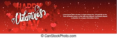 Valentine Day Horizontal Banner With Handwritten Lettering On Red Glittering Hearts Background Template