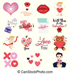 Valentine Day Icons and Clip Arts Illustration