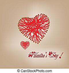 Valentine day knitting wool heart