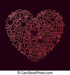 Valentine Day Line Icon Heart Concept