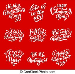 Valentine day love and hearts vector lettering
