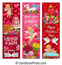 Valentine day love hearts, flowers and angels