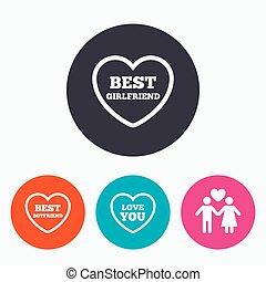 Valentine day love icons. Best girlfriend.