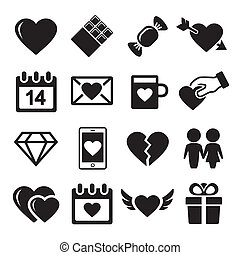 Valentine day love icons set.