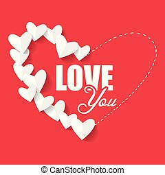 Valentine Day Love You Paper Heart Vector Image
