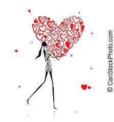 valentine, day., menina, com, grande, coração vermelho