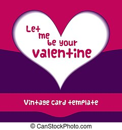 Valentine Day paper heart template poster abstract card design