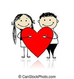 valentine, day., par, com, grande, coração vermelho, para, seu, desenho