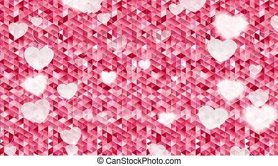 Valentine Day polygonal pixelated pink motion design -...