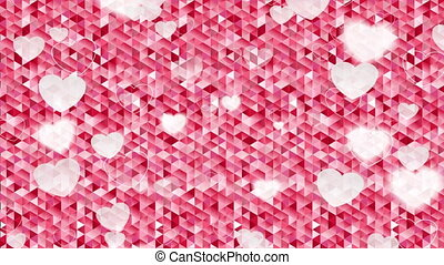 Valentine Day polygonal pixelated pink motion design -...