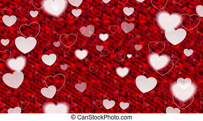 Valentine Day polygonal pixelated red video animation