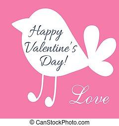 Valentine day postcard with cute bird shape