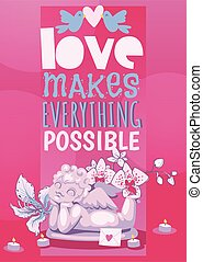 Valentine day poster angel statue vector illustration. Angelic cupid amour romance sculpture.