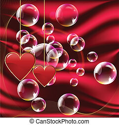 Valentine day red hearts with bubbles and red background
