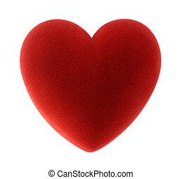 valentine day - red velvet heart isolated on white