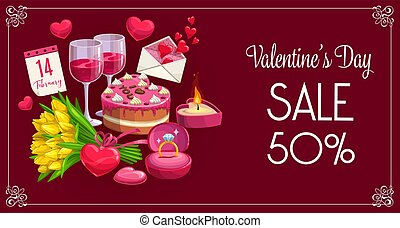 Valentine day sale banner, hearts and flowers