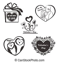 Valentine Day set - labels, emblems and other elements.