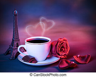 Valentine day still life - Image of morning coffee decorated...