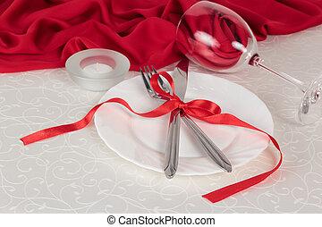 Valentine day romantic table setting. Restaurant series.... stock ...