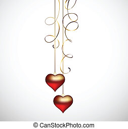valentine day - two hanging hearts