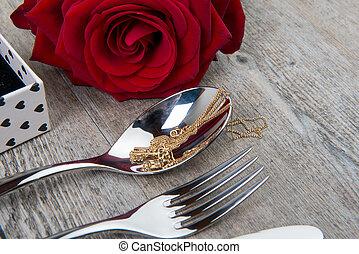 valentine, day's, geschenk, mit, rot stieg, und, besteck
