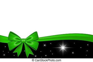 valentine, decoração, invitation., desenho, fita, isolado, experiência., estrelas, branca, feriado, natal, saudação, ilustração, celebração aniversário, dia, cartão, arco presente, presente, vetorial, verde