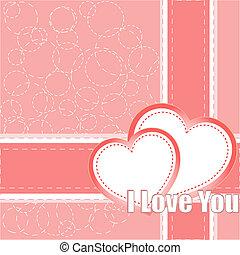 valentine, deux, vecteur, fond, cœurs, jour
