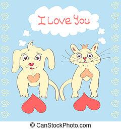 Valentine Dog and Cat cute cartoon