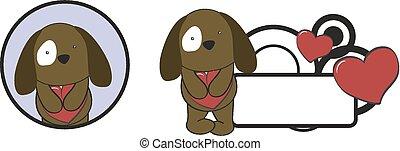 valentine dog cartoon heart hug